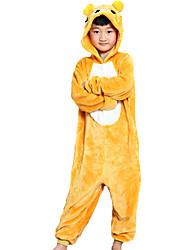 Kigurumi Pajamas Bear Leotard/Onesie Festival/Holiday Animal Sleepwear Halloween Yellow Patchwork Flannel Kigurumi For Kid Halloween