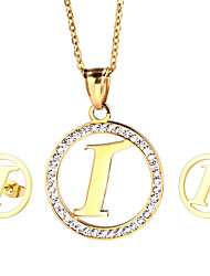 Kalen New Fashion Stainless Steel 18k Gold Plated Capital Letter I Pendant Necklace And Earrings Jewelry Sets Cheap Birthday Gifts