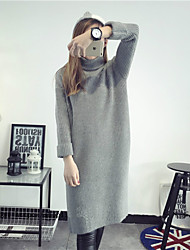Women's Casual/Daily Simple Sweater Dress,Solid Turtleneck Knee-length Long Sleeve White / Gray / Purple Acrylic Fall / Winter Mid Rise