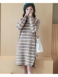 Women's Casual/Daily Simple Sweater Dress,Striped Round Neck Knee-length Long Sleeve Multi-color Acrylic Fall / Winter Mid Rise