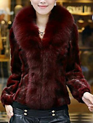 Women's Holiday Sexy Fur Coat,Solid V Neck Long Sleeve Winter Red / White / Black Faux Fur Thick