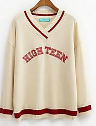Damen Standard Pullover-Lässig/Alltäglich Einfach Solide Weiß Schwarz Orange Rundhalsausschnitt Langarm Baumwolle Herbst Mittel