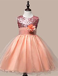 Girl's  Fashion Leisure Sleeveless Flowers Gauze Formal Dress