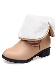 Women's Low-top Pull-on Soft Material Low-Heels Round Closed Toe Boots