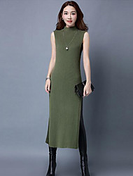 Women's Casual/Daily Simple Sweater Dress,Solid Round Neck Midi Sleeveless Gray / Green Polyester Fall Mid Rise Micro-elastic Medium