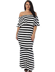 Women's Striped Ruffle Tube Plus Size Maxi Dress