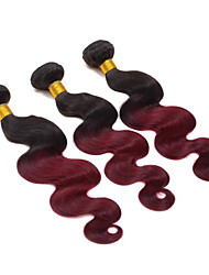Lowest Price 1pcs/lot Brazilian Virgin Hair Body Wave Ombre Two Tone 1B/99J Unprocessed Virgin Human Hair Weaves