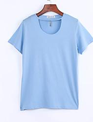 Damen Solide Einfach / Street Schick Lässig/Alltäglich T-shirt,Rundhalsausschnitt Sommer Kurzarm Blau / Rosa / Weiß / Schwarz Baumwolle