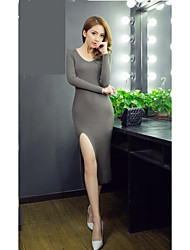 Women's Casual/Daily Simple Sweater Dress,Solid V Neck Midi Long Sleeve Gray Cotton Fall Mid Rise Stretchy Medium