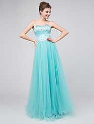 Formal Evening Dress - Lace-up Ball Gown Sweetheart Floor-length Tulle with Crystal Detailing