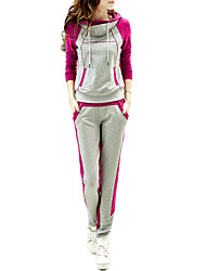 Women's Sports Active Fall Set Pant Suits,Color Block Hooded Long Sleeve Blue / Pink / Green / Orange Cotton Medium