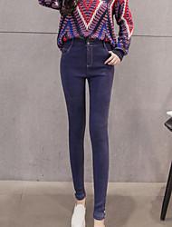 Damen Skinny Jeans Hose-Lässig/Alltäglich Einfach einfarbig Hohe Hüfthöhe Knopf Polyester Micro-elastisch Herbst / Winter