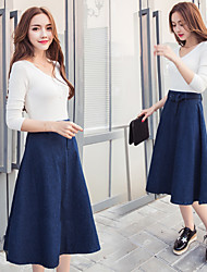 Sign Spring was thin waist retro umbrella skirt denim skirt skirts long A-line skirt Korean version of the big swing