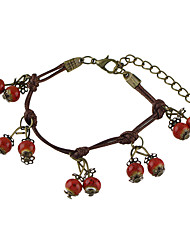 Vintage Style Red Beads Charms Braided Rope Chain Bracelets