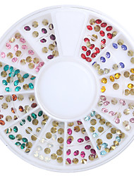 Mix Color 3D DIY Nail Art Tip Acrylic Sharp Bottom Drill Nail Rhinestones Beauty Nail Decoration Glitter