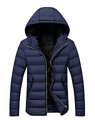 Men's Regular Padded CoatSimple Plus Size / Casual/Daily Solid-Cotton Cotton Long Sleeve Hooded