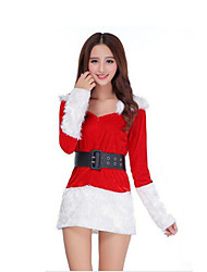 Festival/Holiday Halloween Costumes Red Solid Top / Belt / Shorts Christmas Female