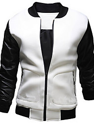 Men's Going out / Casual/Daily / Sports Simple / Active Jackets,Color Block Stand Long Sleeve Spring / Fall White / Black Others Medium