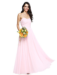 2017 Lanting Bride® Floor-length Chiffon Bridesmaid Dress - Open Back A-line Sweetheart with Ruching