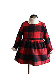 Girl's Casual/Daily Solid Dress,Cotton / Rayon Winter / Fall Long Sleeve