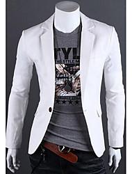 Masculino Casual Trabalho Simples Primavera Outono,Sólido Padrão Linho Colarinho de Camisa Manga Longa