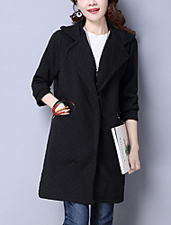 Women's Going out / Casual/Daily Simple / Street chic CoatSolid Slim All Match Fashion Hooded Long Sleeve Winter Medium