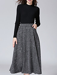 Women's Casual/Daily Midi Skirts,Simple A Line Pleated Solid Fall Winter