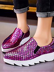 Фиолетовый / Серебристый-Женский-На каждый день-Наппа Leather-На платформе-На платформе-Мокасины и Свитер