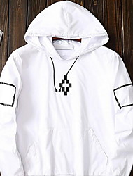 Men's Casual/Daily Simple Jackets,Solid Hooded Long Sleeve Spring / Fall White / Black / Gray Cotton Medium