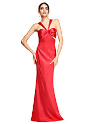 TS Couture® Formal Evening Dress - Elegant / Celebrity Style Sheath / Column Straps Sweep / Brush Train Stretch Satin with Pleats