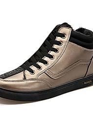 Herren-Sneaker-Lässig-PU-Flacher Absatz-Komfort-Schwarz Gold