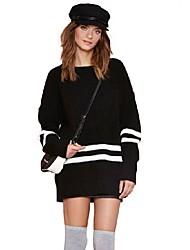 Damen Standard Pullover-Ausgehen Lässig/Alltäglich Einfach Street Schick Gestreift Schwarz Rundhalsausschnitt Langarm BaumwolleHerbst