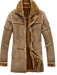 Men's Casual/Daily / Party/Cocktail Vintage Jackets,Solid Shirt Collar Long Sleeve Winter Brown PU Thick