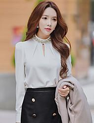 Feminino Camisa Social Casual / Formal / Festa/Coquetel estilo antigo / Moda de Rua / Sofisticado Primavera / Outono,Sólido Branco / Preto