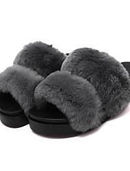 Damen-Slippers & Flip-Flops-Lässig-Pelz-Flacher Absatz-Fersenriemen-Schwarz / Rot / Grau