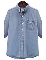 Fashion Large yards women Long sleeves Square collar Loose Was thin Cowboy Shirt