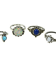 (4 Pcs One Set) Tibetan Style Silver Color Imitation Turquoise Band Rings Set