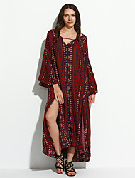 Women's Party Vintage Loose / Swing Dress,Paisley V Neck Midi Long Sleeve Red Cotton Spring