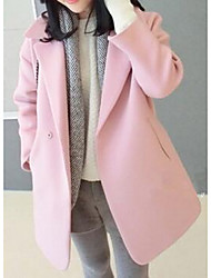 Women's Casual/Daily Simple Coat,Solid Long Sleeve Pink Polyester