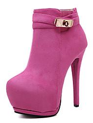 Черный Розовый-Женский-Для праздника-Флис-На шпильке-На платформе-Ботинки