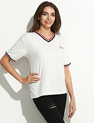 Tee-shirt Aux femmes,Rayé / Lettre Décontracté / Quotidien simple Eté Manches Courtes Col en V Bleu / Blanc Coton Fin