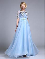 Formal Evening Dress A-line Jewel Floor-length Spandex with Appliques / Sash / Ribbon / Side Draping