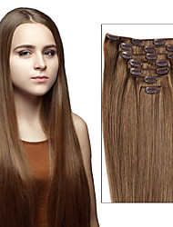 Clip In Human Hair Brazilian Hair Extensions Straight Clip Ins Hair Extensions 7pcs / 8pcs One Set  As Pictures Color