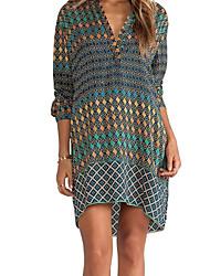 Women's Casual/Daily Simple Loose Dress,Print V Neck Mini Long Sleeve Blue Polyester All Seasons Low Rise Micro-elastic Medium