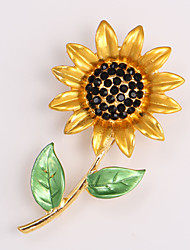 Fashion Rhinestone Brooch for Women Lovely Sunflower Brooches