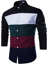 Men's Casual/Daily Simple Shirt,Solid Classic Collar Long Sleeve Black / Green Cotton