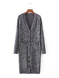 Damen Standard Strickjacke-Ausgehen Lässig/Alltäglich Einfach Niedlich Solide Grau V-Ausschnitt Langarm Baumwolle Herbst Winter Mittel