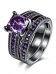 Neutral's Rings Statement Rings Jewelry Hallowas/Party/Daily/Wedding Fashion Cubic Zirconia Copper Purple/Black 1pc Gift