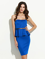 Women's Ruffle Party Sexy Sheath Dress,Solid Strapless Knee-length Sleeveless Blue/Pink/Red/White/Black Cotton Summer