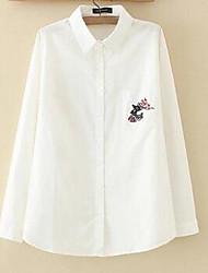 Feminino Camisa Social Casual Simples Outono,Sólido Azul / Rosa / Branco Linho Colarinho de Camisa Manga Longa Fina
